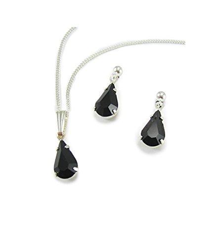 bc430ea34 LJ Designs Black Diamante Jewellery Jet Swarovski Diamante Jewellery  Teardrop Set S5345