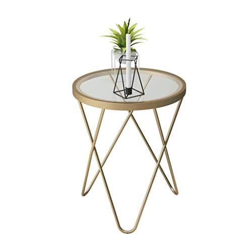 T-Day Beistelltische Nachttisch Tische Couchtisch Rundes Sofa Beistelltische Couchtische Kleine Beistelltische Teetische Schachteltische für Home Office, 47 * 47 * 62 cm (Color : Gold) -
