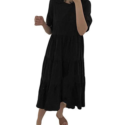 GQJQWE Kalter Wind einfache Rundhals Kleid Frauen große Schaukel lose Kunst minimalistischen schwarz EIN Wort Rock Blase Ärmel schlank abnehmen Kleid -