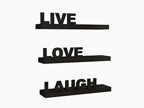 Home Sparkle Wooden Live Love Laugh Shelf (Black)