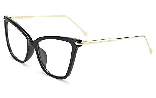 TEN-G New Oversized Cat Eye Glasses Frame Non prescription Eyewear for Women B2460 (Black)