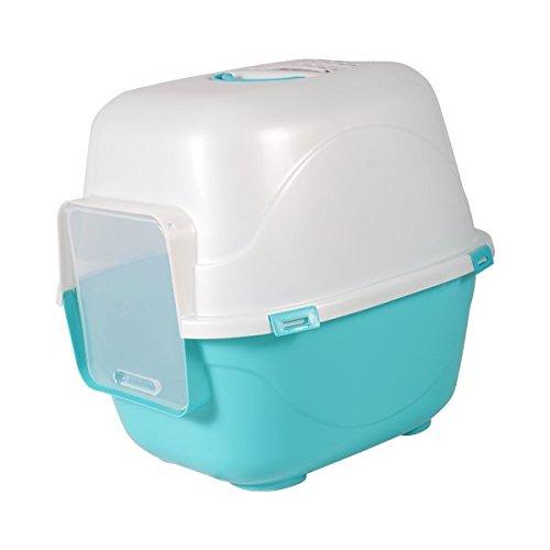 Bandeja higiénica cubierta para gatos Nobleza, color azul con trampilla de entrada y salida, largo 49,5 cm y alto 40,5 cm