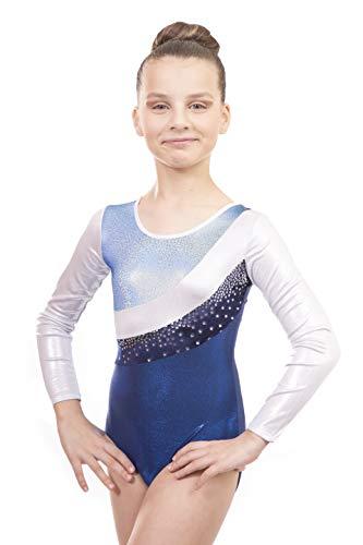 Vincenza Dancewear Jazmin Girls Long Sleeved Leotard for Gymnastics (11-13 Years, Light Blue, 32