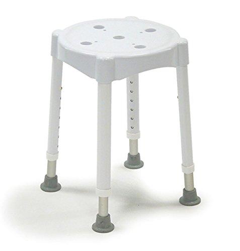 Dietz 4113 Duschhocker Redondo Sitzhöhe 7-fach verstellbar maximale Belastung, weiß (Runde 47 Sitzfläche)