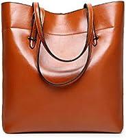 Fashion Brown Leather Shoulder Bag For Women Trendy Elegant Tote Bag European Style Ladies HandBag