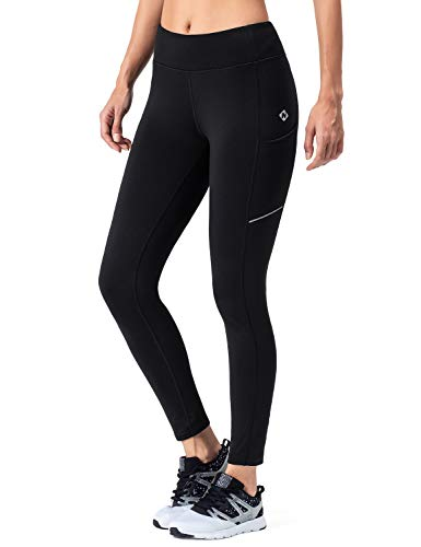 NAVISKIN Damen Laufhose Warm Lang Leggings Atmungsaktiv Trainingshose Thermo - Lauftight Winter Schwarz Größe XL (Fleece-gefütterte Trainingshose)