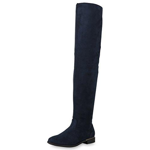 SCARPE VITA Gefütterte Damen Overknees Metallic Winter Stiefel Leder-Optik165434 Dunkelblau 39