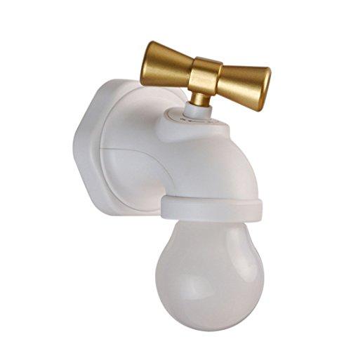 YU-K Retro Wasserhahn wenig Nachtlichter usb aufladen Korridor gang LED Wandleuchte intelligent voice Induktionslampen 10*8*6 CM, Weiß