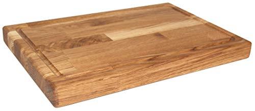 Echtholzprofi Robustes, dickes Schneidbrett/Hackbrett aus Eiche, mit Saftrille, 45x30cm groß, 4cm...