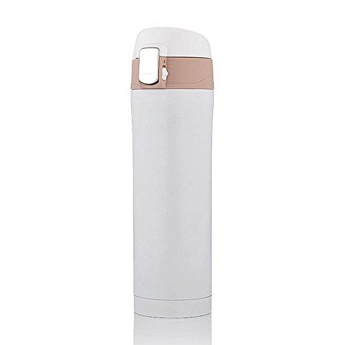 Haosen 500ml Tazza da viaggio in acciaio inox Thermos Bottiglia Vacuum Flask Bottiglia d'acqua - interruttore one-touch,Leakproof bloccare disegno (Bianca)