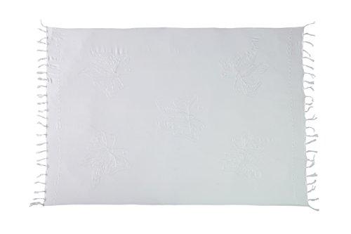 Ca 48 Modelle Sarong Pareo Wickelrock Strandtuch Handtuch Lunghi Dhoti ca. 170cm x 110cm mit Toller Stickerei Handarbeit viele Modelle Schmetterling Weiß