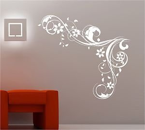Online Design Bedroom Wall Art Swirls Flowers Vinyl Sticker Lounge   Black