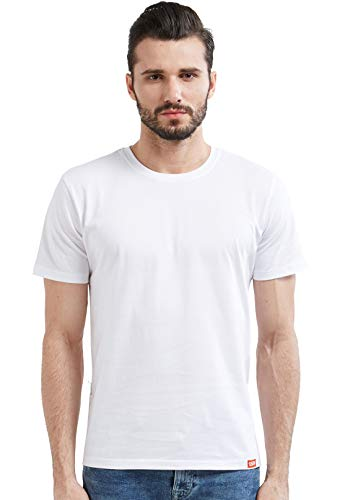 Wear Your Opinion WYO Men's Solid Plain Half Sleeve Cotton T-Shirt(Plain Men's Tshirt - White)