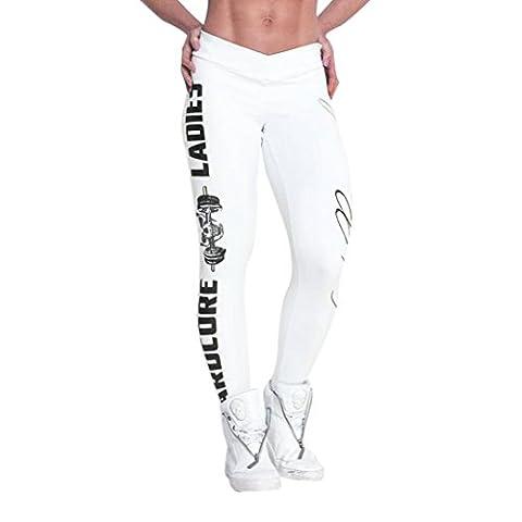 Pantalon de Yoga,Manadlian Femmes Sport Gym Yoga EntraîNement Mid Taille Jogging Pantalon Fitness Leggings (S, blanc)