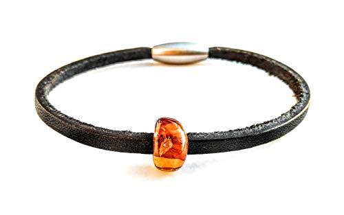 AmberConnections Unisex Naturleder Armband mit Bernstein, 1-reihig, schwarz