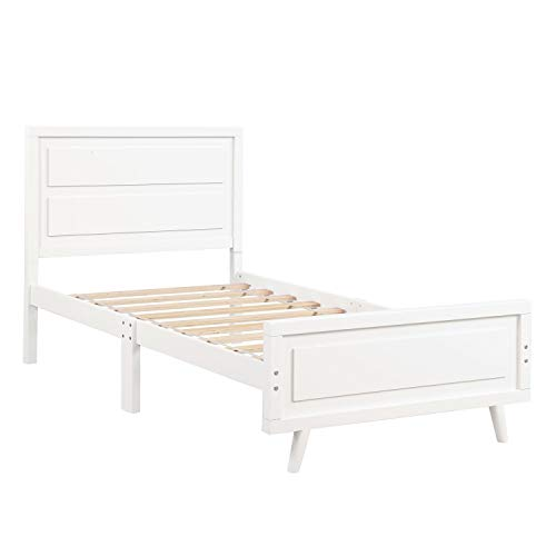 Jill Ernest Bett Holzplattform Bett Twin Bed Frame Matratze Foundation mit Kopfteil und Holzlatte Unterstützung Einzelbett (Farbe : Weiß) -