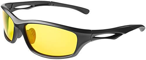 Balinco Polarisierte Sportbrille Sonnenbrille Fahrradbrille mit UV400 Schutz für Damen & Herren Autofahren Laufen Radfahren Angeln Golf (Matt Black - Yellow (Night Vision))