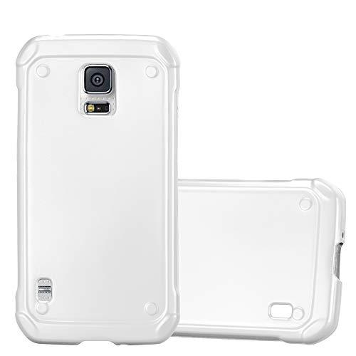 Cadorabo Hülle für Samsung Galaxy S5 Active - Hülle in METALLIC Silber - Handyhülle aus TPU Silikon im Matt Metallic Design - Silikonhülle Schutzhülle Ultra Slim Soft Back Cover Case Bumper (Für Galaxy Skin Active S5)