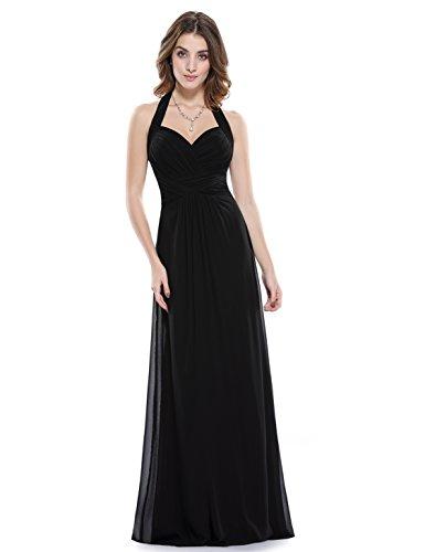 Ever Pretty Damen Elegant Rueschen Neckholder Lang Maxi Party Abendkleid 36 Größe Schwarz EP08487BK04