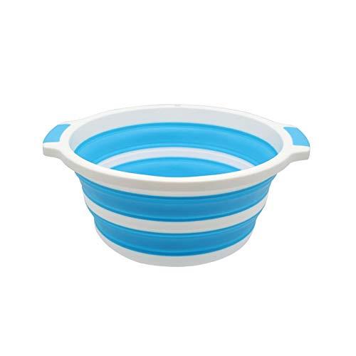 YJXTYP tragbares Reise-Waschbecken für Kinder mit Gesicht und Füßen, groß, rund, für Reisen himmelblau/blau