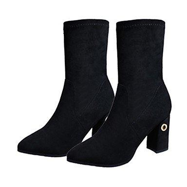 Femmes Chaussures Pu (polyuréthane) Automne Bottes D'équitation Carré Bottines Pointues Avec Diamants Pour Casual Noir Noir