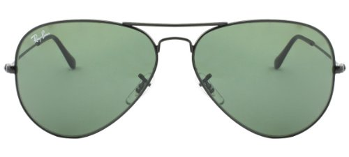 RAY BAN AVIATOR *** RB3025-L2823-5814 *** BLACK FRAME/CRYSTAL GREEN LENS