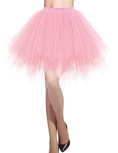 Tutu Ballett Kostüm - Dresstells Damen Tüllrock 50er Rockabilly Petticoat Tutu Unterrock Kurz Ballett Tanzkleid Ballkleid Abendkleid Gelegenheit Zubehör Light Coral M
