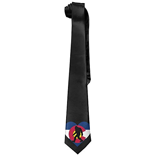 Bigfoot Heart Men's Tie Long Necktie Skinny Neckwear Silk