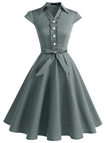 WedTrend Damen 50er Retro Herzform Knopf Rockabilly Kleid Kurzer Ärmel A-Linie Kleider WTP10007 Grey - 40er Jahre Kleid Kostüm