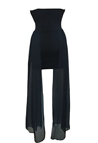 MYWY - Abito nero donna vestito scollato bustier vestitino sera code fascia abitini party Nero