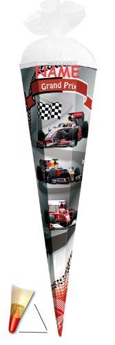 Unbekannt Schultüte - Grand Prix - 22 cm - incl. Namen - mit Tüllabschluß - Zuckertüte Roth Auto Rennwagen Autos Formel 1 Ferrari