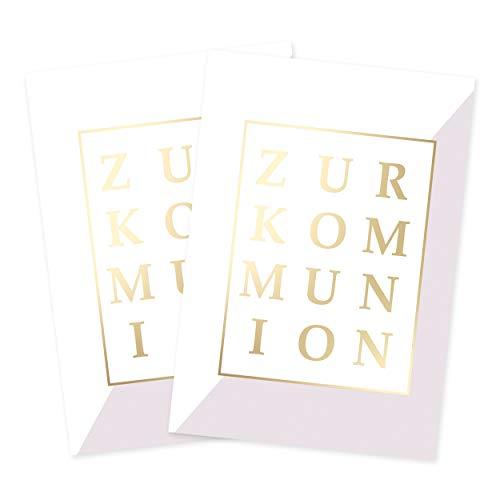 2er Set Glückwunschkarten edel, mit Gold, modern, zur Kommunion, Kommunionkarten, Glückwunsch zur Erstkommunion, Einladungskarten, Danksagung, für Mädchen und Jungen