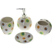 juego de 4 accesorios de baño de cerámica blanca con diseño de lunares con  dispensador jabón 3960d9f6616a
