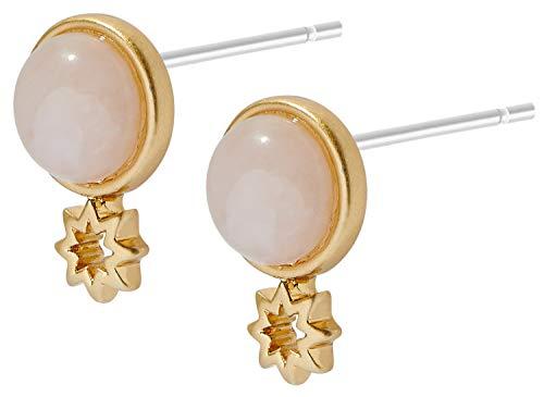 Sence Copenhagen K934 - Orecchini da donna in oro rosa con stella e quarzo rosa, collezione Secret Garden 2019 Venus Earstuds