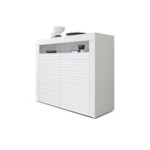 Kommode Sideboard Valencia, Korpus in Weiß matt/Fronten in Weiß Hochglanz Harmony mit 3D Struktur und Blenden in Weiß Hochglanz