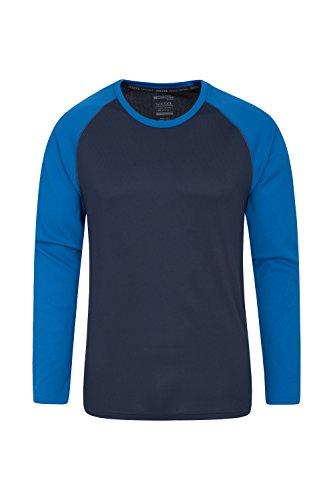 Mountain Warehouse Endurance Herren-Oberteil - Lange Ärmel, schnelltrocknendes T-Shirt, hoch atmungsaktiver Tee, Oberteil mit LSF30 - Für Reisen Kobalt Medium