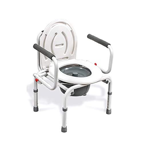 MYQ Toilettengestell, Toilettenstuhl, tragbar, leicht, mit Deckel, Toilettensitz, für ältere Menschen, Schwangere und Frauen, höhenverstellbar, zusammenklappbar, massiv mit Töpfchen sitzen grau