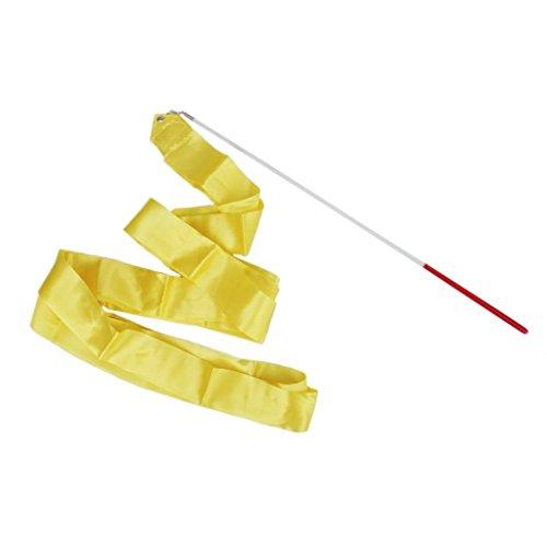 Isuper Gelbe Band Streamer 4M Rhythmische Gymnastik Tanz Ballettanzug mit Einem Rutschfesten Tanz Baton Stab