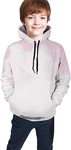 NGZXPMYY Rosa Wolken-Himmel-Pastellrosa-Farbe-mit Kapuze Sweatshirt für Jungen-Mädchen-Teenager Junior, athletische zufällige Sportkleidung