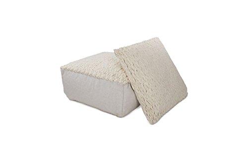 Hocker Sitz-Würfel Modern Design Shaun Pouf 310 Bean Bag gestrickt Muster Wollmischung 80x80 cm Beige/ Sitzsack günstig online kaufen