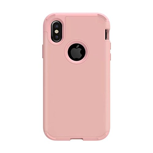 iPhone X Hülle, Lantier Shockproof Scratch-Resistant Hybrid High Impact Defender Heavy Duty Protection PC and Silicone feature Full-body Rugged Protective Case für Apple iPhone X Rose Gold