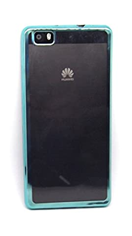 Housse gel transparent avec bordure turquoise Huawei P8Lite Silicone Ultra Thin–Ultra Mince 0,33mm