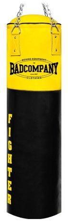 Profi Fighter Vinyl Boxsack schwarz / gelb 120 x 35cm gefüllt inkl. Heavy Duty Vierpunkt-Stahlkette