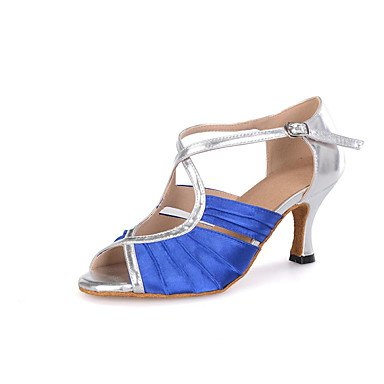 Scarpe da ballo-Personalizzabile-Da donna-Samba-Tacco a rocchetto-Raso / Finta pelle-Blu / Marrone / Rosa Navy