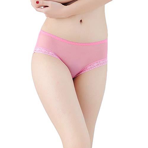 COMVIP Reizvoll Damen Durchsichtig Shorts Pants Unterwäsche Hipsters Unterhose Slips Panties M Pink -