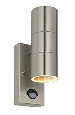 PIR Stainless Steel Double Outdoor Wall Light With Movement Sensor IP44 Up/Down Outdoor Wall Light produced by Long Life Lamp Company - quick delivery from UK.