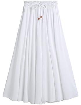 DEBAIJIA Easy Chic Falda Mujer Maxi Algodón Verano Playa Casual Casa Clásica Moda Vintage Plisada Cintura Elástica