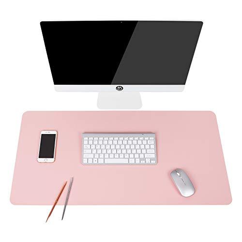 Multifunktionales Office Mauspad, YSAGi 80x40 cm Wasserdichte Schreibtischunterlage aus PU-Leder, Ultradünnes Mousepad zweiseitig nutzbar, ideal für Büro und Zuhause (Pink-Single, 80 x 40 cm)