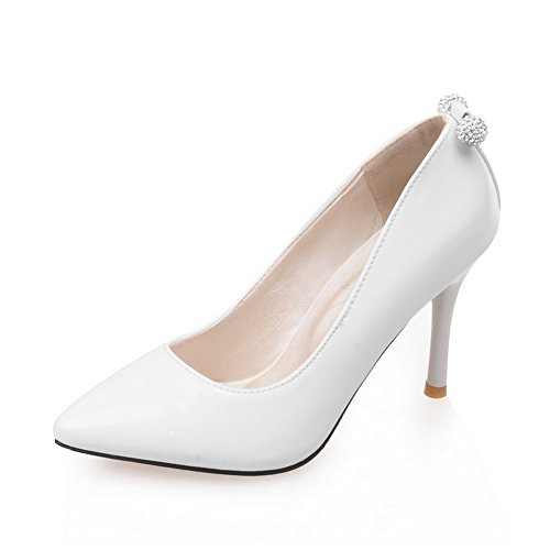 Adee Mesdames Sexy brevet Chaussures Pompes en cuir Blanc - blanc