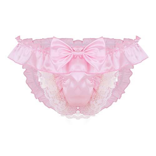 Freebily Sissy Dessous Mann Strings offen Hintern Satin Bikini Slips Tanga Ouvert-Höschen Panties Erotik Kostüm Unterhose Gay Unterwäsche Reizwäsche Rosa XL -